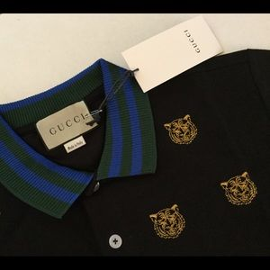 Auth GUCCI Men's Black Polo Shirt NEW! Tiger Front